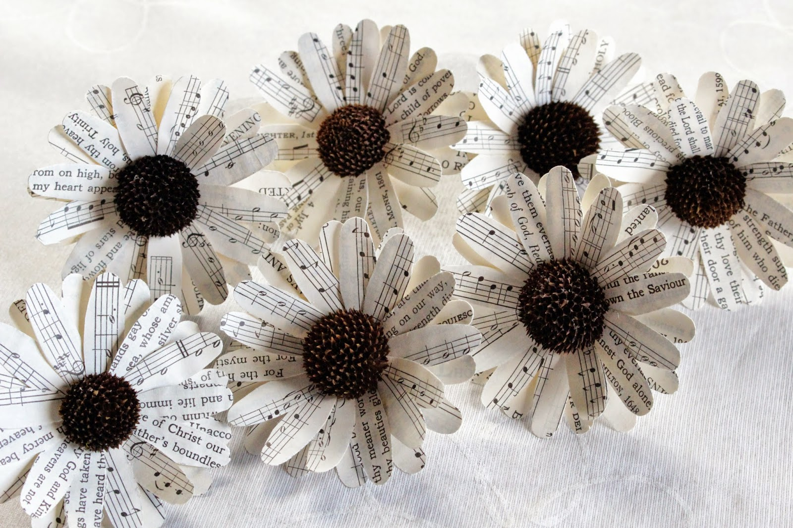 Diy how to make paper daisy using vintage music sheets reduce materials mightylinksfo