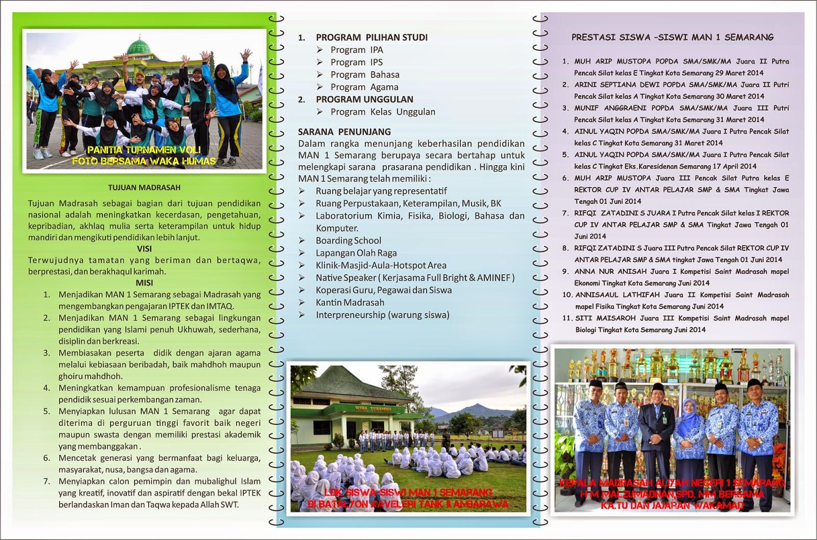 Brosur Pendaftaran MAN 1 Semarang 2015 Terbaru