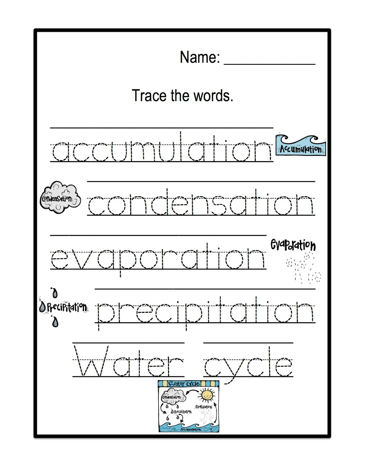 math worksheet : water cycle printable  preschool printables : Water Cycle Worksheet For Kindergarten