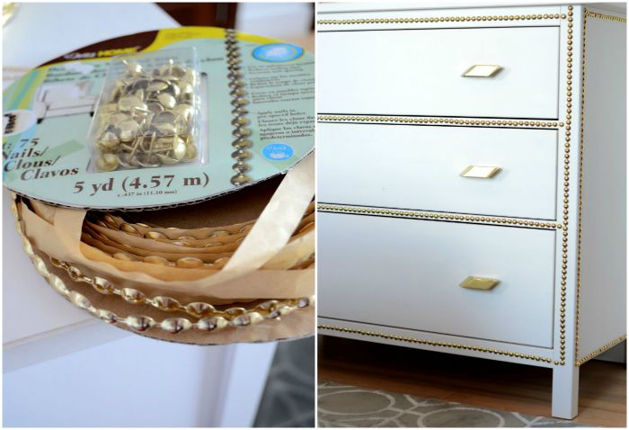 Gold nailhead ikea dresser makeover before after diyforeafterkeover solutioingenieria Image collections