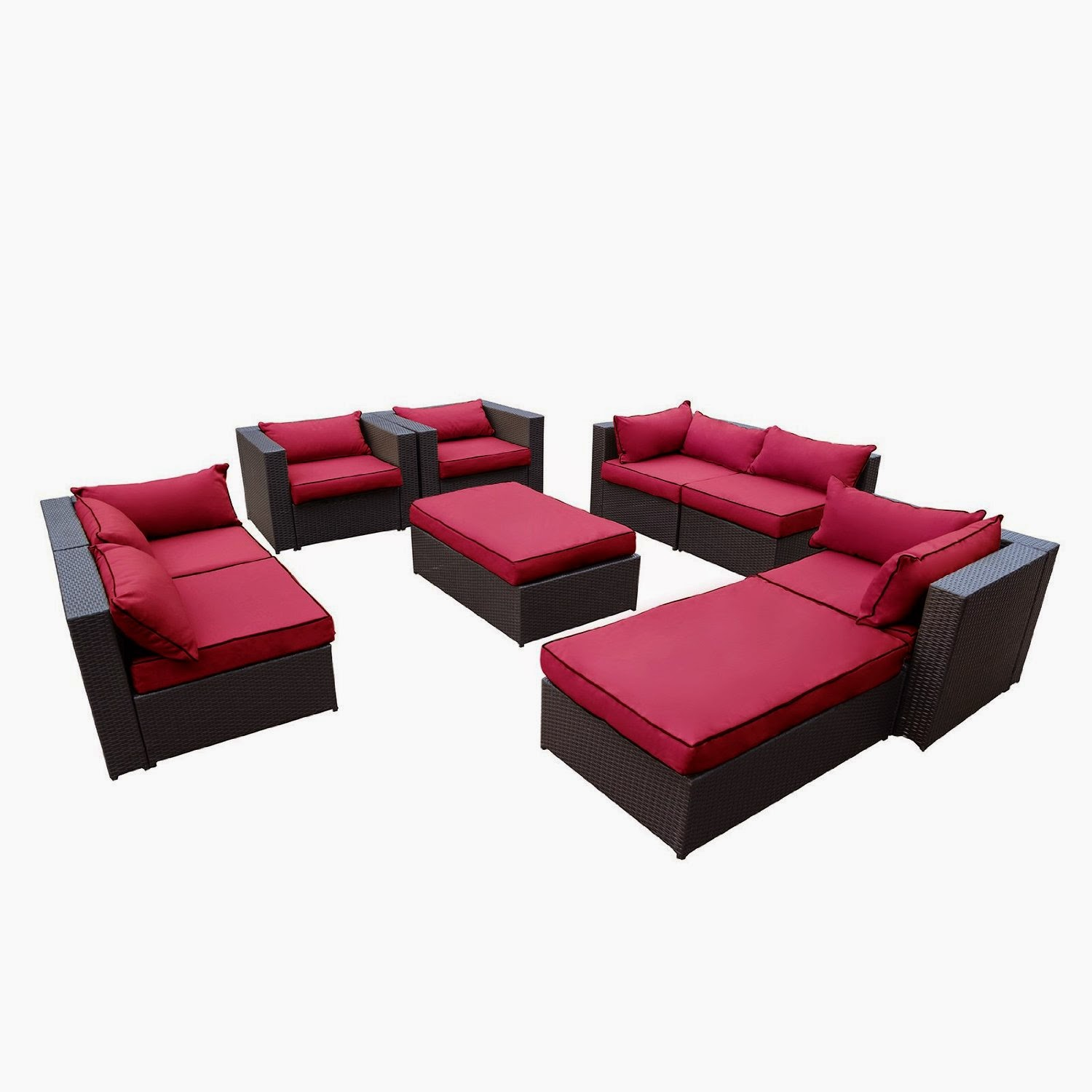 Outdoor Patio Rattan Wicker Furniture Sectional Sofa Garden Furniture Set Red Outdoor Patio