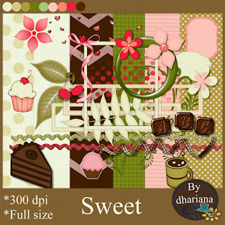 "Free scrapbook kit ""Sweet"" from Dhariana Scraps"