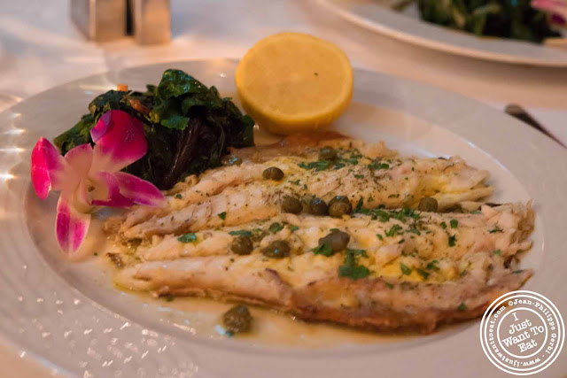 Image of branzino or loup de mer or lavlaki at Thalassa Greek restaurant in Tribeca NYC, New York