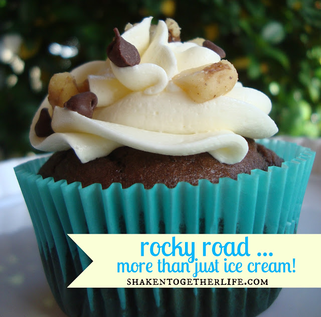 rocky road cupcakes with marshmallow buttercream from www.shakentogetherlife.com