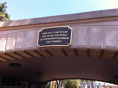Disneyland entry Plaque entrance tunnel brass train leave today