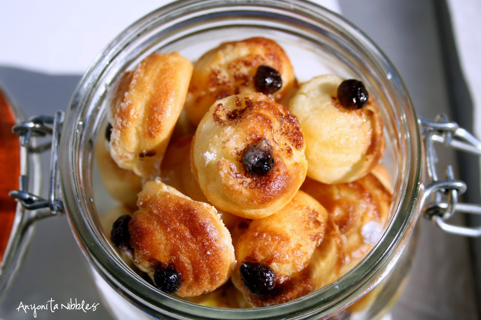 A jar of chocolate chip, gluten free chouquetts from Anyonita Nibbles