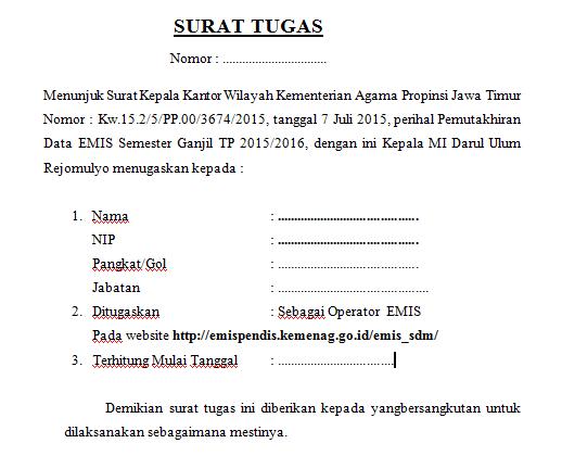 Contoh Surat Tugas Operator EMIS