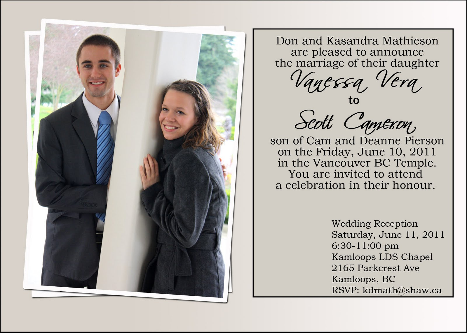 From British Columbia Canada.....: WEDDING INVITATIONS...PIERSONS ...