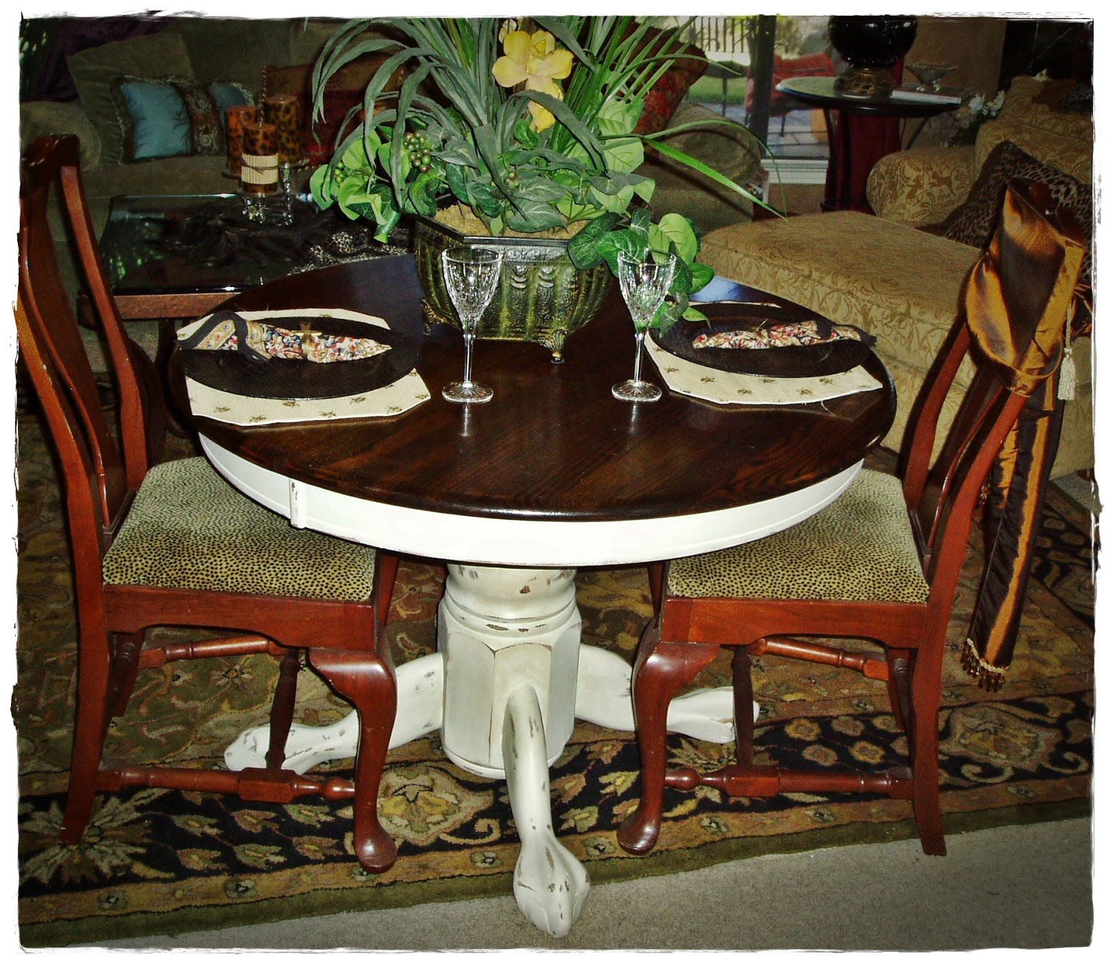 Faux Painting + Furniture: French Country Round Pedestal Kitchen Table