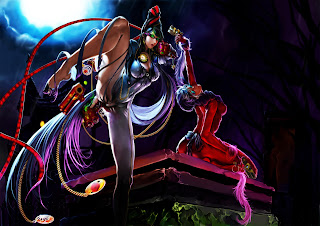 Bayonetta Sexy Girl Cleavage Pistol Black Hair Glasses Video Game HD Wallpaper Desktop PC Background