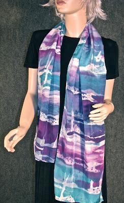 Deborah Younglao screen printed silk scarf