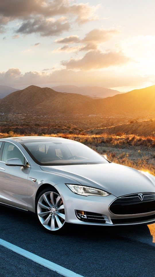 Silver Tesla Car   Galaxy Note HD Wallpaper