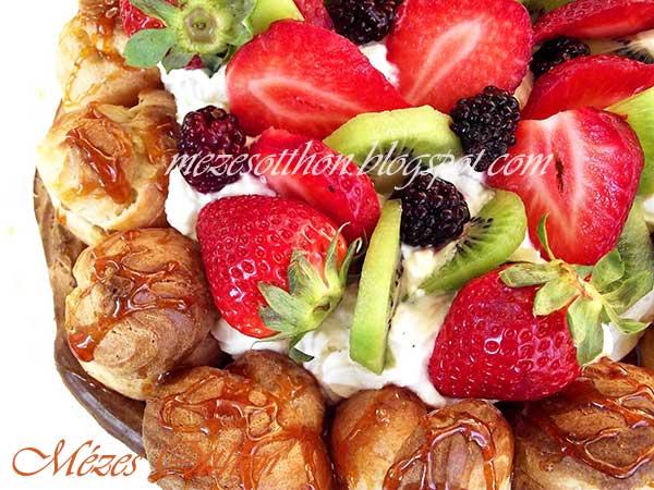 epres-krémes saint honoré torta nyárra fotó