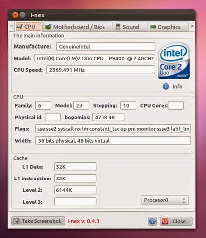 Conoce el hardware de tu ordenador con I-Nex, i-nex ubuntu,
