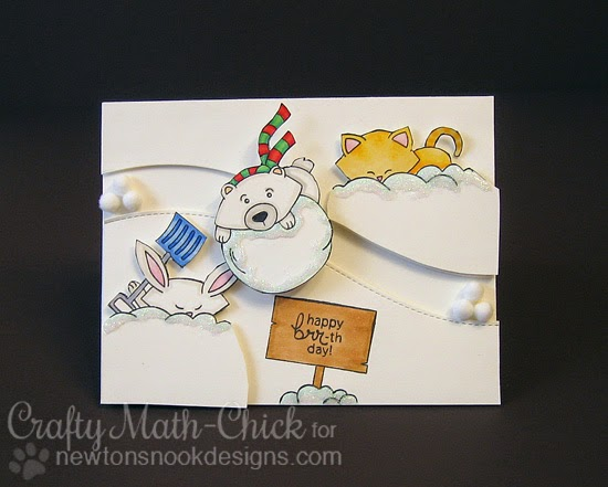 Slider Snow Card with Animals by Crafty Math-Chick for Newton's Nook Designs | Winter Tails Stamp Set