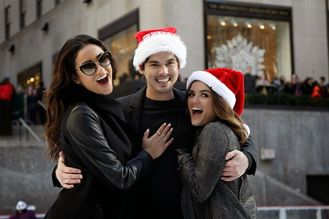 Shay Mitchell, Tyler Blackburn and Lucy Hale Ice Skating Rockefeller Center New York