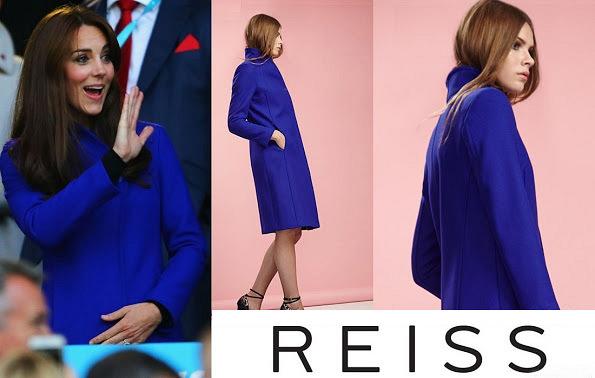 Catherine, Duchess of Cambridge Wore Catherine, Duchess of Cambridge Wore Blue Reiss Emilie Coat