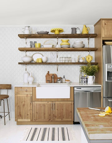 Our vintage home love rustic open kitchen shelving for Open style kitchen cabinets