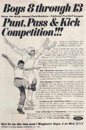 Punt, Pass and Kick advertisement from 1967. The contest was sponsored by the Ford Motor Company.
