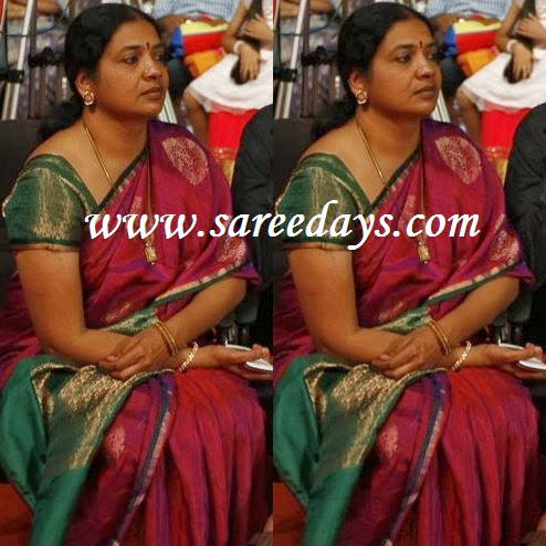 Latest saree designs jeevitha in pink uppada pattu saree checkout jeevitha in pink uppada pattu saree with green zari border and paired with contrast short sleeves blouse altavistaventures Images