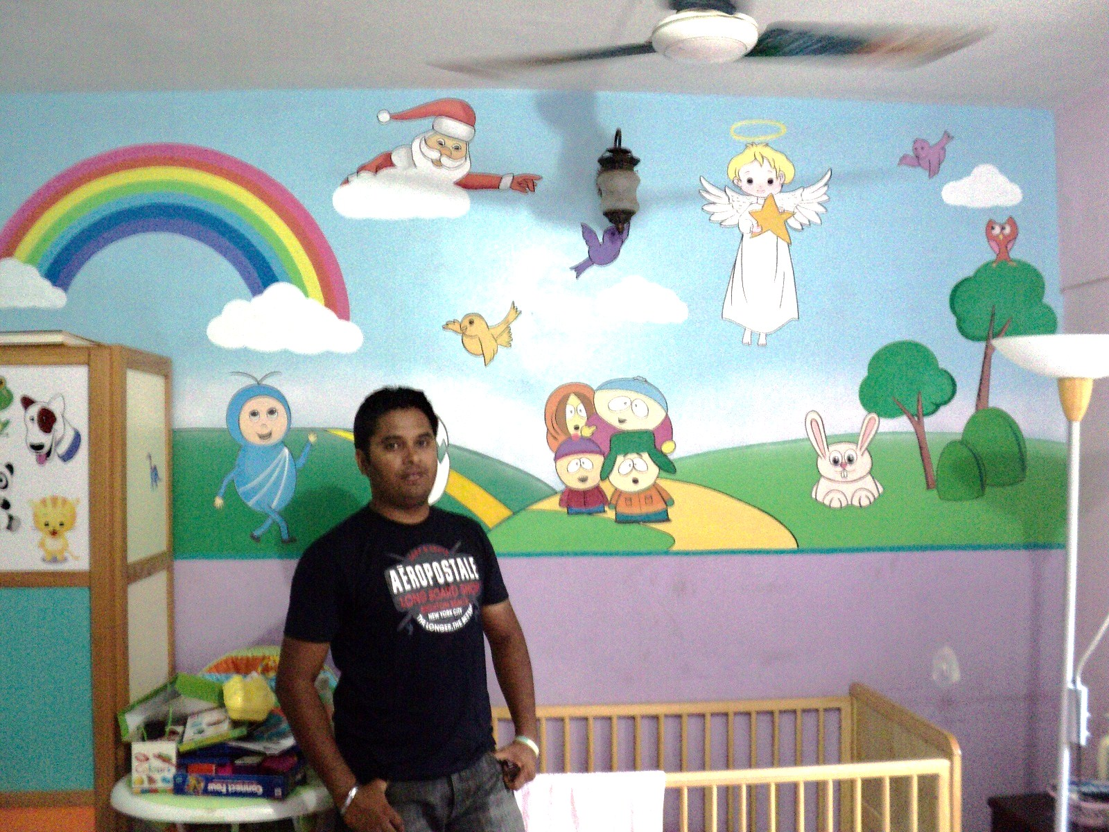 Day care school classroom cartoon painting santacruz for Children mural ideas