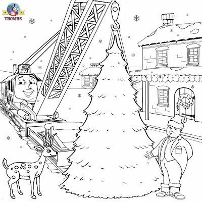 Thomas and friends winter clipart graphic Christmas train coloring page snow frosty picture to print