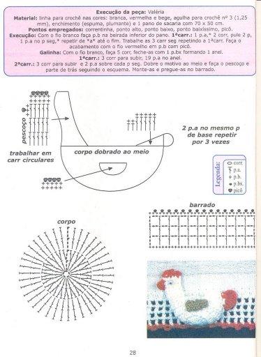 gráfico crochê - galinhas