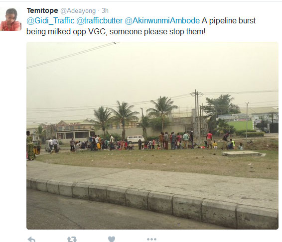 Shocking: Lagos Residents Scoop Fuel From Leaking Pipeline At VGC (Photo)