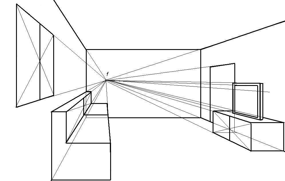 Ejemplo de dibujo en perspectiva c nica frontal realizado con el programa paint educaci n - Habitacion en perspectiva conica ...