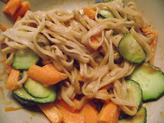 Peanut noodles with carrot and cucumber