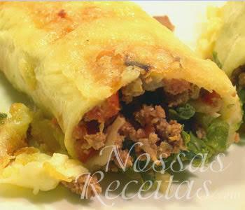 receita de tortilhas de carne moída