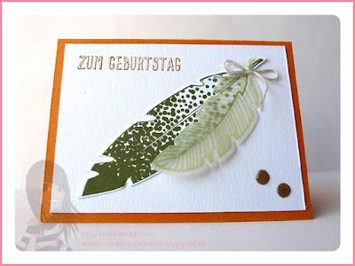 Stampin' Up! Rosa Mädchen Kulmbach Geburtstagskarte mit Four Feathers, eins für alles und Enamel Dots
