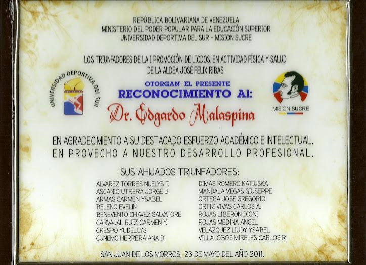 PADRINO DE LA 1RA.PROMOCIÓN. MISIÓN SUCRE