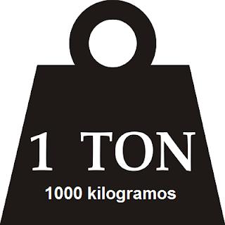 1 tonelada equivale a 1000 kilos