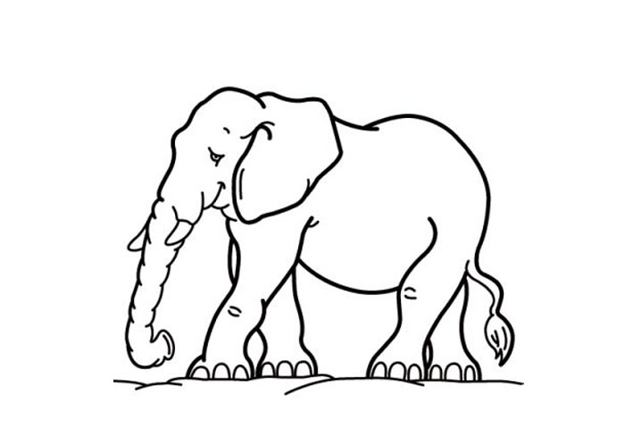 Cartoon Elephant Coloring Pages title=