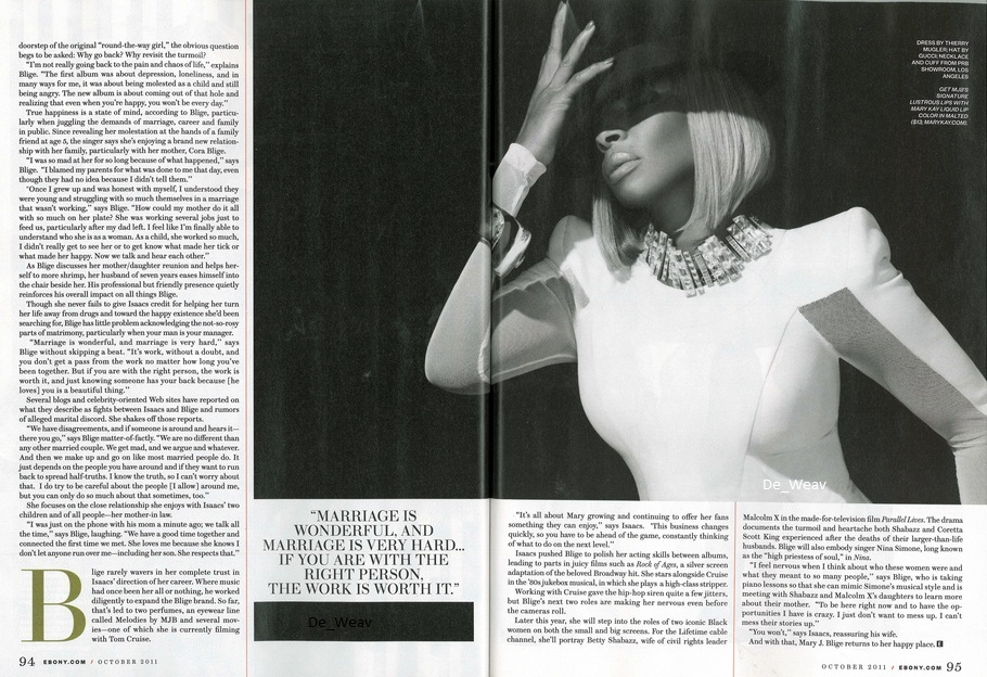 Check out these exclusive scans of Mary in the October 2011 issue of Ebony ...