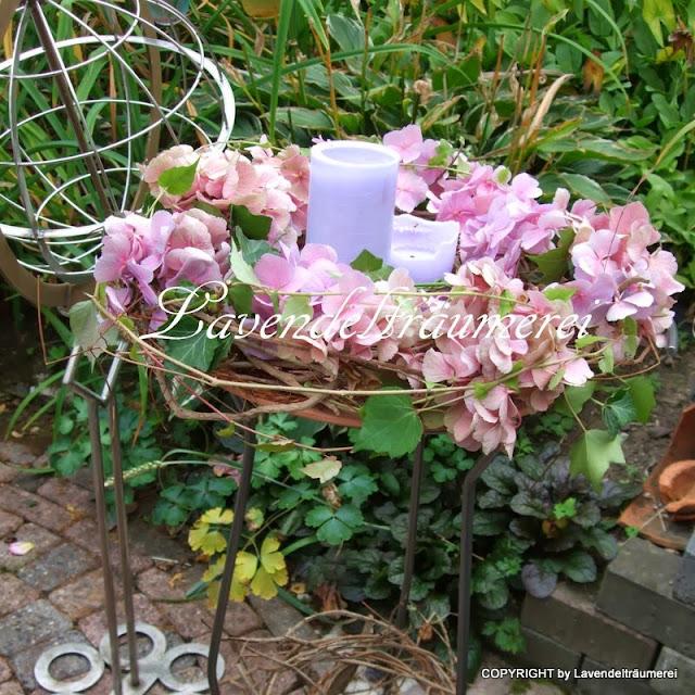 lavendeltr umerei fotoshoot mit hortensien im herbstgarten. Black Bedroom Furniture Sets. Home Design Ideas