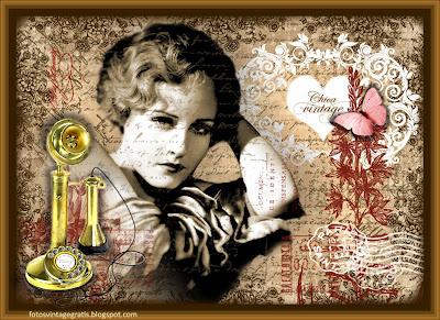 fondo vintage con chica de los años veinte y teléfono antiguo