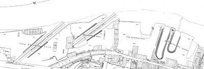 A section of 1857 Ordnance survey map showing the south bank of the river Wear lined with shipbuilding yards