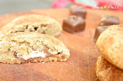 chocolate caramel stuffed snickerdoodles