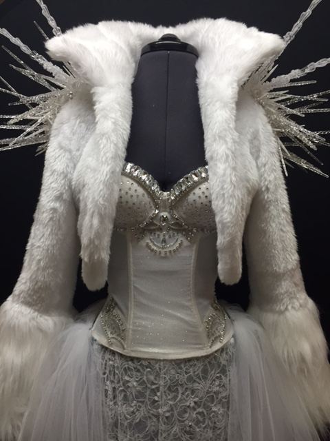 mystic magic, couture, designer, clothing, costume, fashion, couture fashion, diamonds, icicles, fur, white fur, white, spikes, white jacket, snow queen costume, ice queen costume,