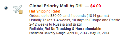 4 dollarin hintainen Global Priority Mail by DHL rahti