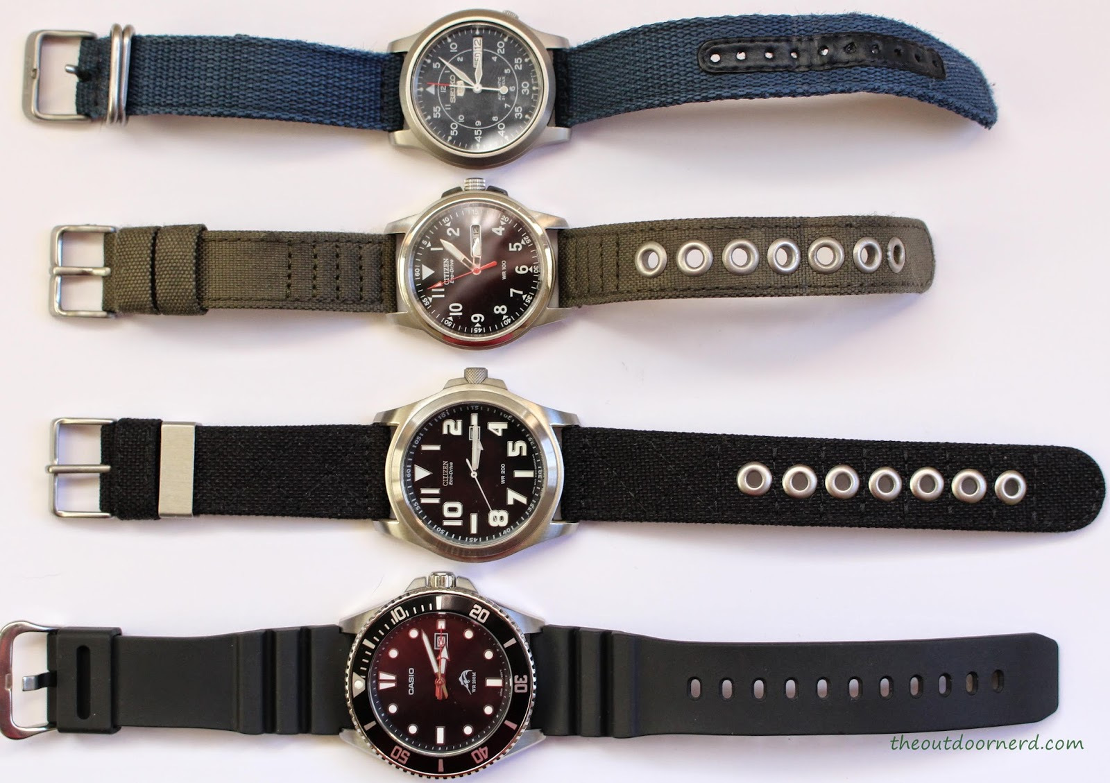 "From Top: Seiko SNK807 ""Seiko 5"", Citizen BM8180-03E, Citizen BM6400-00E, Casio MDV106-1A Diver's Watch"