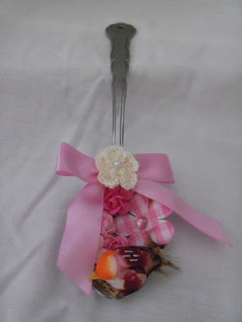 Flower Garden with Bird Altered Tea Spoon