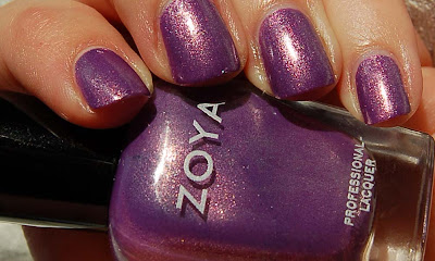 Zoya Danii, a glowing purple nail polish with sparkling glass flecks, a romantic nail polish from the Zoya spring collection Intimate 2011