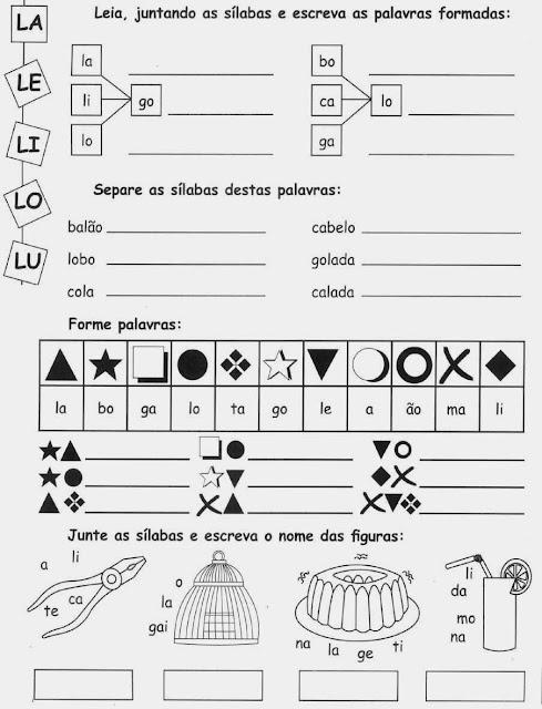 palavras com desenhos comAtividades com a letra L.Ensino Fundamental, Atividades para imprimir, Alfabetização, Letras, 1º ano. L,L,