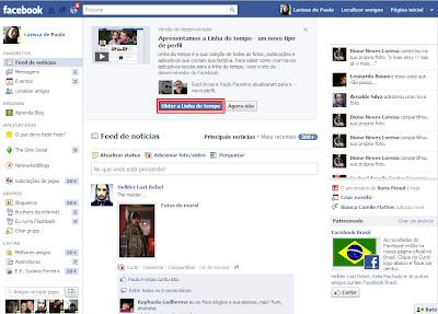 nova linha do tempo facebook