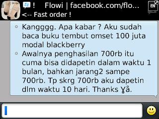Buku Tembus Omset 100 Juta Modal BlackBerry Dewa Eka Prayoga 700rb dalam 10 hari