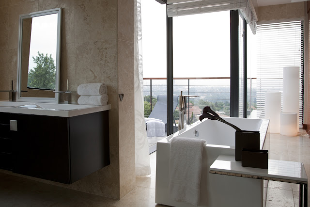 Picture of modern bathroom with the view