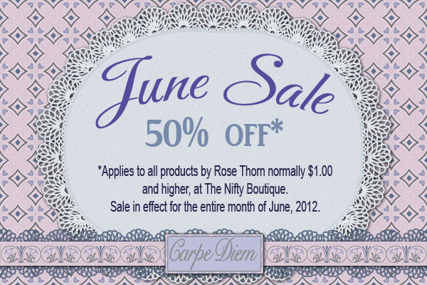 50 percent off sale on digital scrapbook products by Rose Thorn